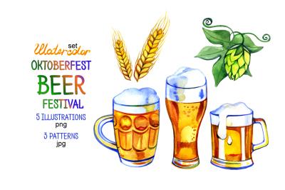 Watercolor Beer, hop and malt