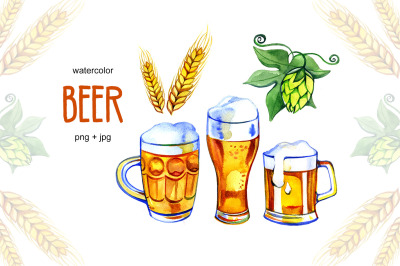 Watercolor Beer, hop and malt