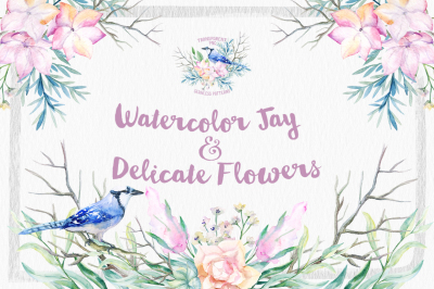 Watercolor Jay & Delicate Flowers