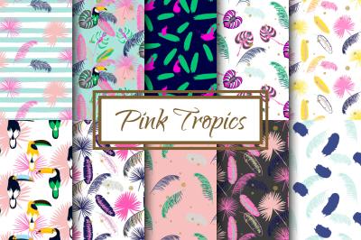 Pink Tropics seamless vector patterns