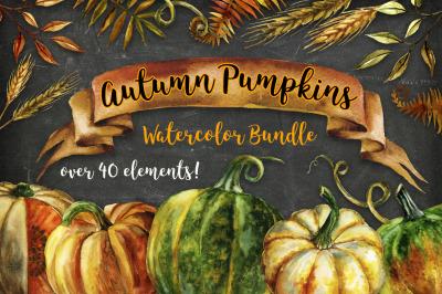 Autumn Pumpkins Watercolor Bundle