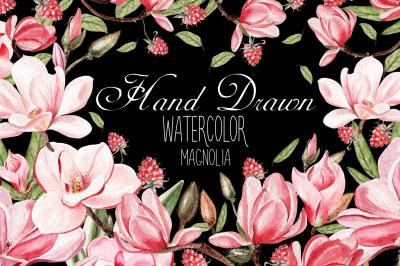 Hand Dawn Watercolor Magnolia