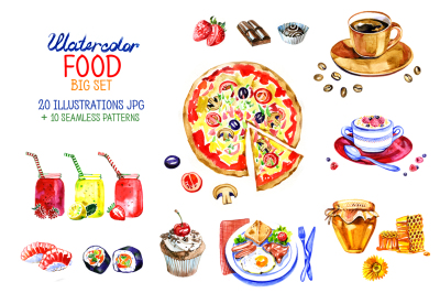 Big watercolor food set