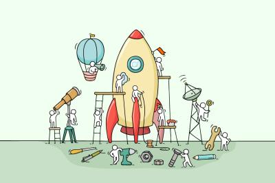 Cartoon teamwork with big rocket
