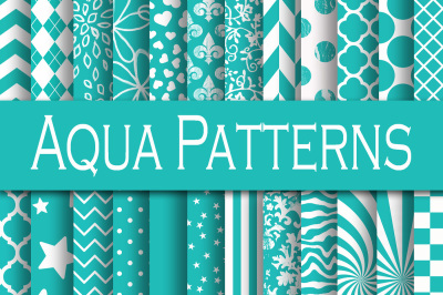 Aqua Patterns Digital Paper