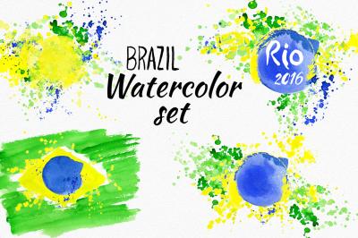 Watercolor Brazil set. Brazilian flag