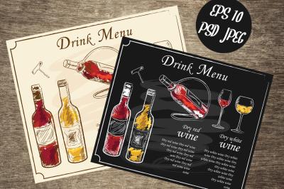 Hand-drawn Menu Wine List Vectors