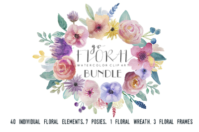Go Floral clipart set, watercolor hand-painted graphics