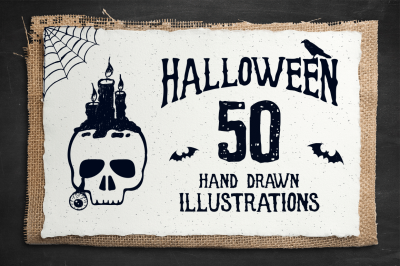 Halloween. 50 Hand Drawn Objects