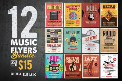 12 Indie Music Flyer Bundle