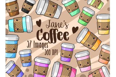 Kawaii Coffee Clipart