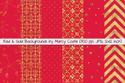 Red & Gold Digital Papers / Backgrounds