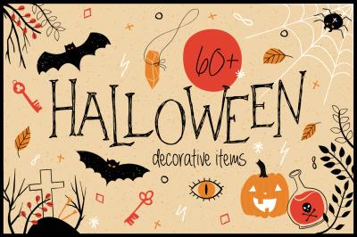Sale! Halloween: 60 Spooky doodles & 6 Patterns