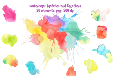 Watercolor Blotches and Splatters
