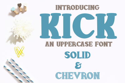 Kick Font - Solid and Chevron Letters - OTF & TTF