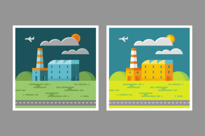 Industrial Factory Flat Style Illustration