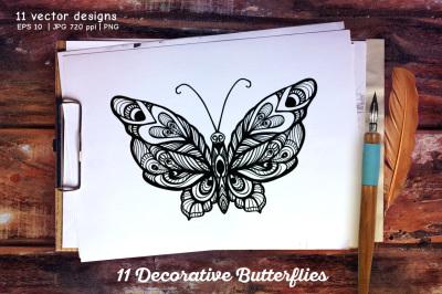 11 Butterflies set