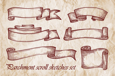 Parchment scroll sketches set