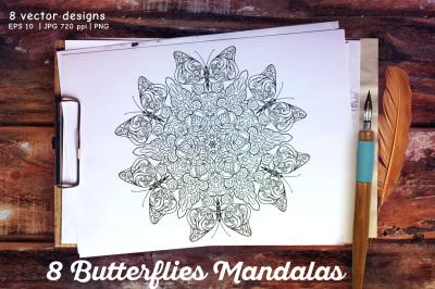 8 Butterfly Mandalas