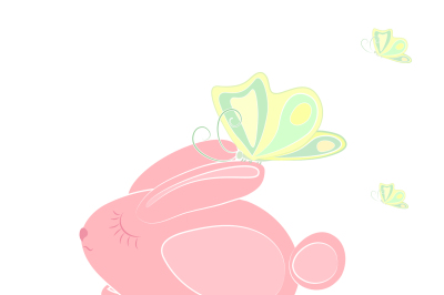 The image of a small rabbit and sat down in his ear butterfly, two file JPEG 300 dpi for print and EPS 10