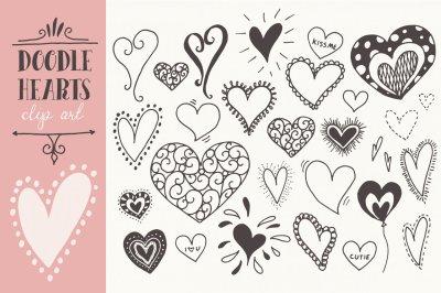 Doodle Hearts Clip Art & Vectors