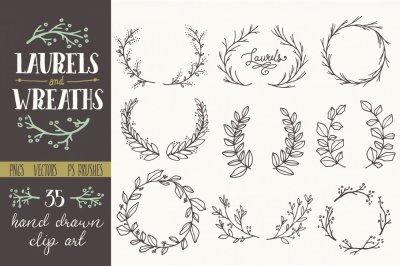 Whimsical Laurels & Wreaths Clip Art