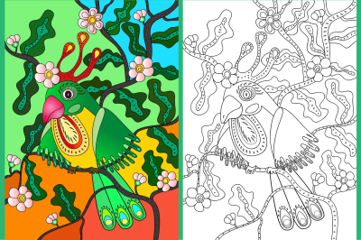 Image of a colorful green parrot on a tree branch, colored drawing and coloring two of the JPEG file, 300 dpi, EPS 10, can be used for printing any size