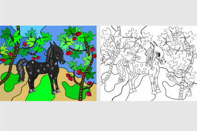 Little pony in a forest in spring with blossoming trees, a pond, two drawings and colored coloring, a two file JPEG 300 dpi, and EPS 10 for print in any desired size