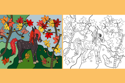 Little pony in a forest in autumn in the oak forest, near the lake, two pattern and color and coloring, the two files are in JPEG format with a resolution of 300 dpi, and EPS 10 for print of any size