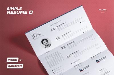 Simple Resume/Cv Volume 6 - Indesign + Word Template