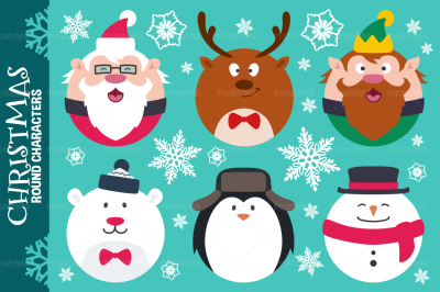 Round Flat Christmas Characters