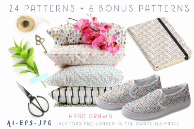 Hand Drawn Seamless Patterns Papers Vol. 1