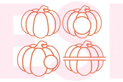Pumpkin Outline Designs and Monogram Set - SVG, DXF, EPS, PNG - Cutting Files