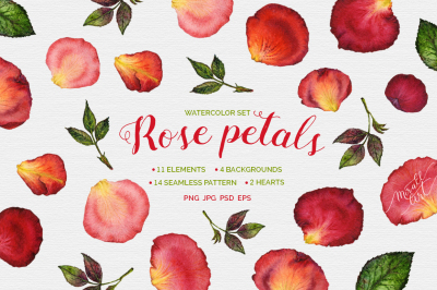 Floral watercolor rose petals