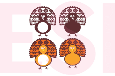 Turkey Designs and Monogram Set - SVG, DXF, EPS, PNG - Cutting Files