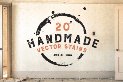 20 Handmade Vector Stains