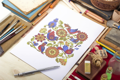 Stylish Steampunk birds and flowers