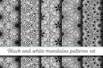5 black and white mandalas patterns