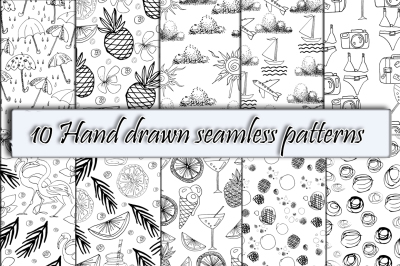 10 Hand Drawn Seamless Patterns.