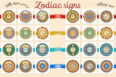 Colorful zodiac signs