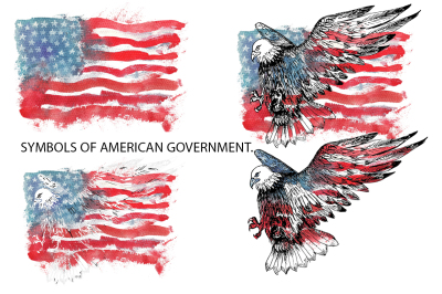 Watercolor american flag and eagle.