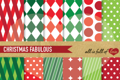 Christmas Geometric Patterns Red and Green  background