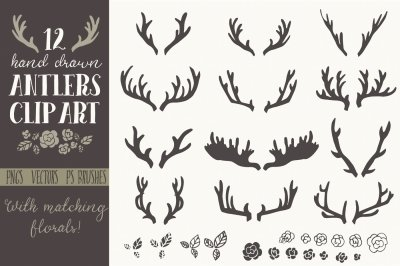 Hand Drawn Antlers - Clip Art & Vectors