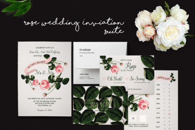 DIY Rose Wedding Invitation PSD Template