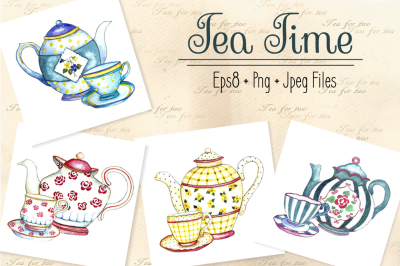 Watercolor teapots and cups