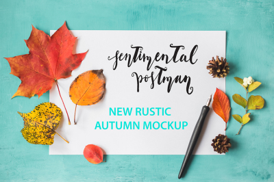 Rustic autumn mockup