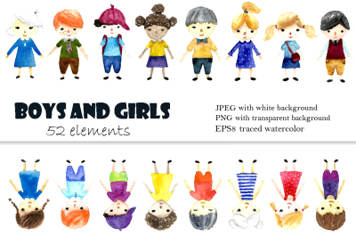 Watercolor boys and girls.