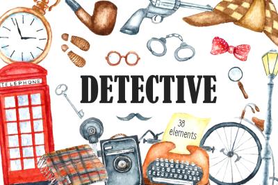 Watercolor retro detective set
