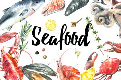 Watercolor seafood clip art