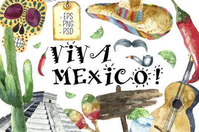 Watercolor Mexico Travel clip art